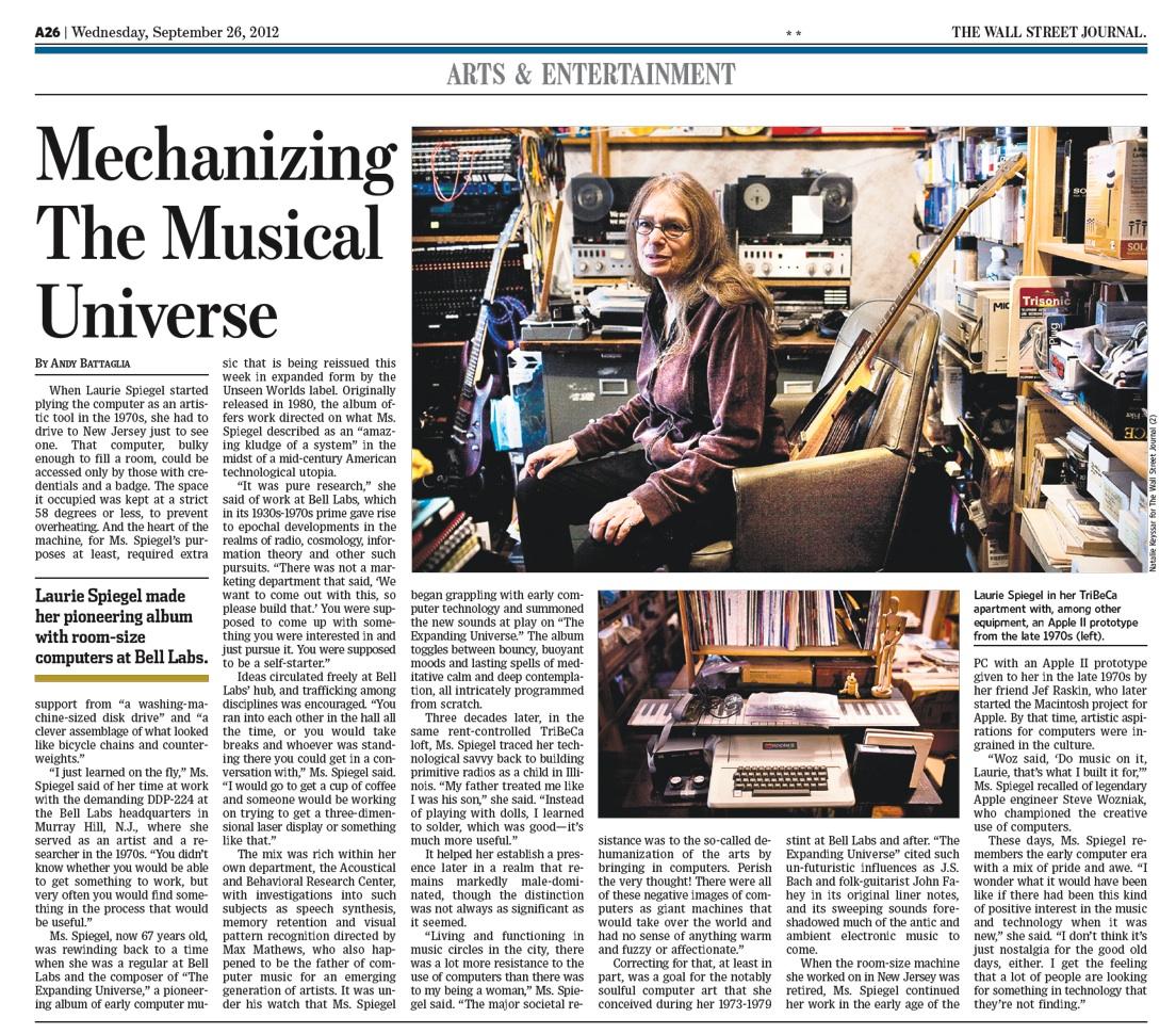 Laurie spiegel recent press 25 for Spiegel journal